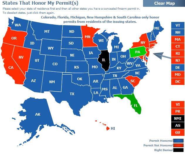 kansas ccw reciprocity map Reciprocity States Florida Gun Pros kansas ccw reciprocity map